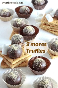 S'mores Truffles. 3/4 C marshmallow fluff, 5 Tbsp butter, 1 C gram cracker crumbs, 1/4 C mini chocolate chips. Mix together. Form into little balls and put in fridge to firm up. Dip in 6 oz melted semisweet chocolate. You can roll them in more gram crumbs for decoration.