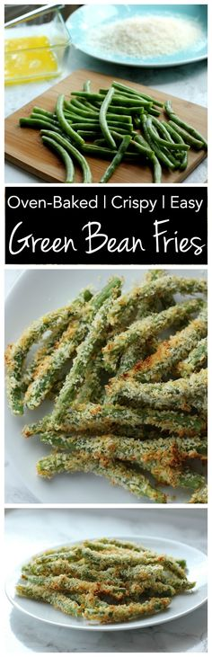 These crispy crunchy green bean fries are baked in the oven so they're low in fat! Perfect for a healthy side dish!