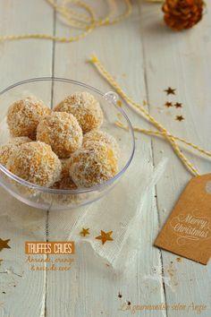 cadeau gourmand Noël - truffes crues amande orange (raw truffles)