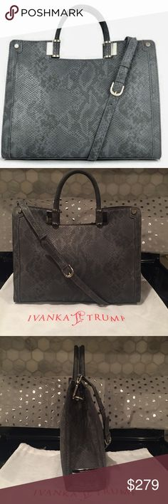 """NWT Ivanka Trump Snakeskin Reptile Satchel Bag Gorgeous NWT Ivanka Trump """"Rose"""" Satchel With Crossbody Strap And Dustbag. Charcoal Gray Reptile Snakeskin Pattern. Size- 14.5"""" Wide, 11.5"""" Tall, And 4.5"""" Depth. Ivanka Trump Bags"""