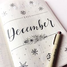 December cover page, floral doodles, bullet journal and snowflakes