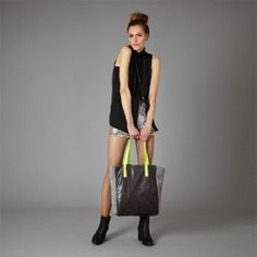 Large Grey and Neon yellow shopper - www.elizabethdunn.co.uk