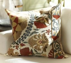 Another beautiful pillow.  Mila Suzani Embroidered Pillow Cover #potterybarn