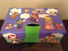 Paper mario valentine box Valentine Boxes For School, Valentines For Boys, Valentines Day Party, Valentine Crafts, Holiday Crafts, Holiday Fun, Projects For Kids, Crafts For Kids, Diy Valentine's Box
