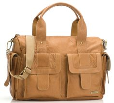 Sofia Leather Diaper Bag - Tan by Storksak