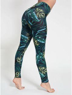 Comfortable and classic Cotton Spandex Jersey legging in jungle leaves print.