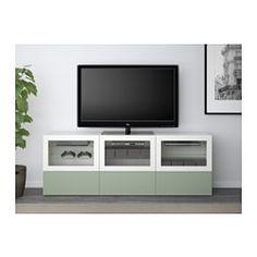 IKEA - BESTÅ, Mueble TV+puert+cajones, riel para cajón con cierre suave, Lappviken/Sindvik efecto nogal tinte gr vdr transp, , Las puertas y cajones llevan un sistema integrado para abrir/cerrar suave y silenciosamente.Puedes controlar el equipo con las puertas cerradas, porque el mando a distancia funciona a través del vidrio.Es fácil tener  los cables del TV y otros dispositivos ocultos pero a mano, gracias a las aberturas de la parte de atrás del mueble de TV.Si no quieres que se vean…