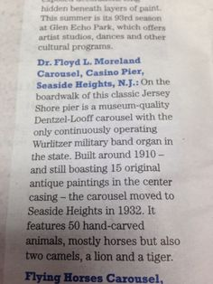Dr. Floyd Moreland Carousel   Seaside Heights, NJ