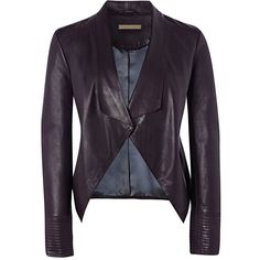 Richards Radcliffe - Oxshott Leather Jacket Blackberry ($910) ❤ liked on Polyvore featuring outerwear, jackets, waterfall jacket, real leather jackets, leather jackets, stitch jacket and waterfall leather jackets