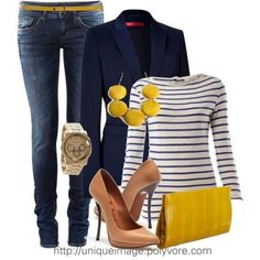 Navy blazer & pinstripes w/yellow clutch.