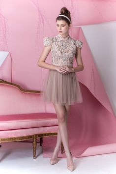 Patricia Bonaldi Summer 2014 Embellished cap sleeve dress with sheer skirt