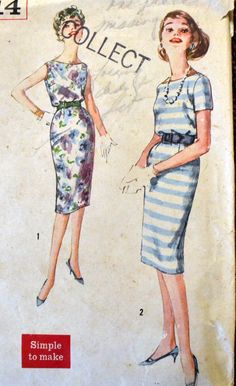 Vintage 50's Sewing Pattern Simplicity 2914 Misses' Blouson Dress Size 11 Bust 31.5 inches by GoofingOffSewing on Etsy