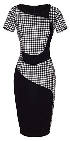 HOMEYEE® Women's Checks Office Style Bodycon Evening Party Pencil Dresses UB61 (6, Black) HOMEYEE http://www.amazon.com/dp/B00YIQ76QS/ref=cm_sw_r_pi_dp_6m2Gwb1FN9J0B