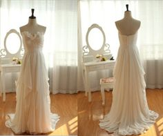 Elegant Hi-Lo Tiered Layered Chiffon Wedding Dress for Beach Wedding A-Line Sweep Train Couture Wedding Gowns Zipper Up Back Bridal Gowns White Bridesmaid Dresses Long, Prom Girl Dresses, Dress Prom, Dress Long, Bridesmaid Ideas, Dress Formal, Long Dresses, Party Dress, Couture Wedding Gowns