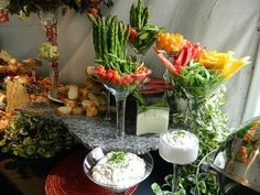 I love using glass to display crudite. I am almost persuaded to want to eat my vegetables! #EventPlanning #Catering #Caterer