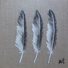 Tableau * Les 3 Plumes*, peinture sur toile de lin