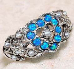 Blue-Fire-Opal-Pearl-925-Solid-Sterling-Silver-Victorian-Style-Ring-Sz-6