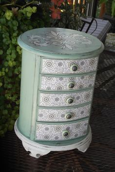 Rare Round Vintage all Wood Jewelry Box Hand Painted by Eweniques, $105.00