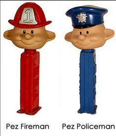 Pez Wacky Wobbler PFireman and Policeman (Box #4)