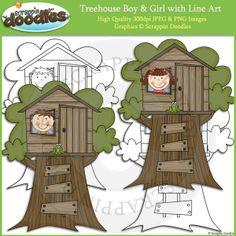 Treehouse Boy & Girl Clip Art and Line Art