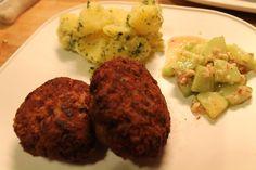 Fleischlaberln vom Angus-Rind mit Käsefüllung & Thai-Gurkensalat |