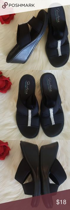 Skechers memory foam rhinestone wedge sandals sz 9 In good condition. It shows some wear on insoles and outsoles. Logo has faded a little due to wear. However, memory foam footbed still in great condition for added comfort. There is no rhinestone pieces missing. Soft neoprene upper in a wedge heeled strappy slide sandal with rhinestone trim detailing. Color black. Size 9 Skechers Shoes Sandals