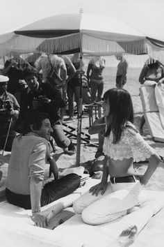 Serge Gainsbourg and Jane Birkin à Cannes  #beach #france #style #seventies