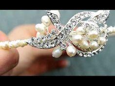 "AA-B4007 Simple and Elegant ""Broach"" Style Headband Tiara with Rhinestones and Freshwater Pearls http://www.haircomesthebride.com/Bridal-Tiara-AA-B4007.htm"