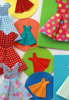 Origami dress garland~ would make a cute garland for a birthday party or summertime party
