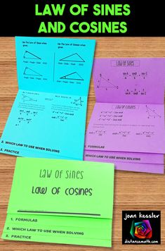 Organize your students and give them great practice on the Law of Sines and Law of Cosines Law Of Cosines, Doodle Pages, Precalculus, Flip Books, Secondary Math, Trigonometry, Math Teacher, Algebra, Curriculum