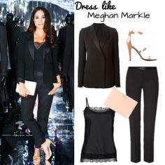 Liebst du den Look von Meghan Markle alias Rachel Zane von Suits auch so? Shop hier ihr Outfit mit #Top , #Hose , Blazer und #Sandalen .