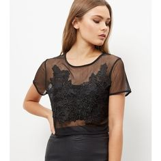 New Look Parisian Black Lace Mesh Top (69 BRL) ❤ liked on Polyvore featuring tops, black, going out tops, party tops, holiday party tops, night out tops and lacy tops
