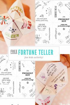 Learn how to make a fortune teller to predict your friends future. Sometimes they are called cootie catchers. It is super easy with this free printable. Paper fortune tellers are fun little game to make predictions. A fun craft and activity for kids Fortune Teller Free, Chinese Fortune Teller, Origami Fortune Teller, Paper Fortune Teller, Paper Games For Kids, Paper Crafts For Kids, Craft Activities For Kids, Fun Crafts, Kids Printable Activities