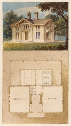 Design for a Cottage-Villa in the Bracketted Mode, Constructed in Wood (perspective and plan) Alexander Jackson Davis (American, New York West Orange, New Jersey, ca. to have a room for a water closet/bathing area Architecture Design, Architecture Drawings, Vintage House Plans, Architectural Prints, Construction, Kit Homes, Vintage Wall Art, Building Plans, Old Houses