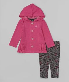 Another great find on #zulily! Pink Ruffle Jacket & Black Leggings - Infant, Toddler & Girls by Calvin Klein Jeans #zulilyfinds