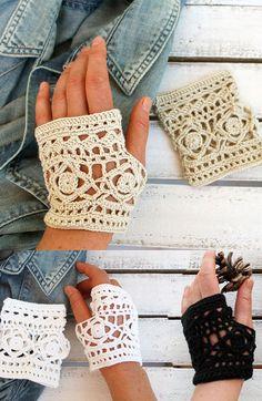 Brown  Lace Glove  Hand Crochet fingerless gloves by gloveshop