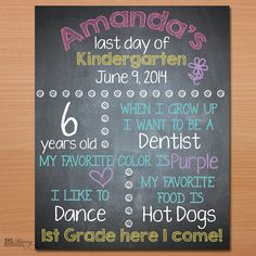 DIY Last Day of School Sign, Printable File - Cute photo props for those last day of school photos!