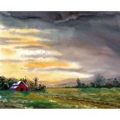 Barn Painting Watercolor landscape Painting Sunset by derekcollins, $39.00