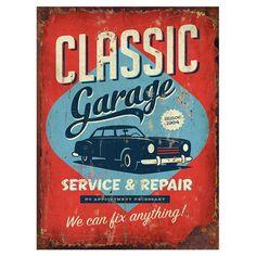 Nicht nur für Autoliebhaber: Mit dieser Plakette holen Sie sich Vintage-Flair in Ihr Interieur.    Product: Wandkunst