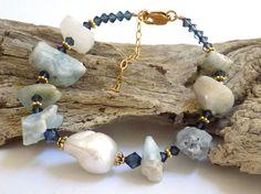 Blue Bracelet Gemstone Bracelet Blue Lace by BlondePeachJewelry