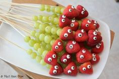 Fruit Caterpillar Kabobs! So cute! Saw another example of this made with red grapes on the end instead of strawberries (no eyes on that example)