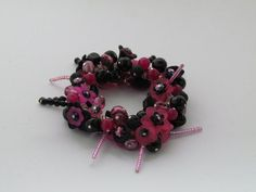 Stretchy Pink & Black Lucite Flowers with by eclecticandgorgeous, £15.00