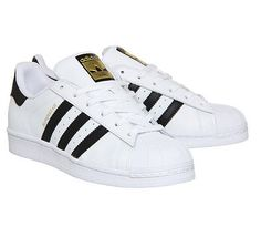 brand new 73345 0f82a Adidas Super Star (GS) White Black Gold Women Boys Girls Trainers All Sizes