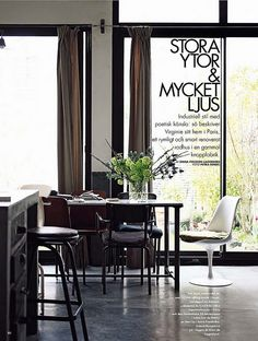 Virginie Denny / Alfonso Valles / Emma Persson Lagerberg / Petra Bindel via Elle Interiör {black, white and gray vintage industrial modern dining room} by recent settlers, via Flickr