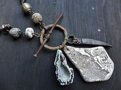Chronos. Found object necklace with beach by fancifuldevices