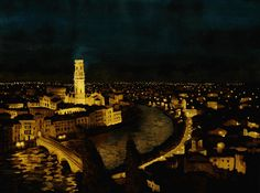 - VERONA -  Watercolours by night
