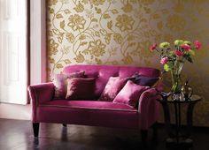 How To Brighten Your Home With Summer-Themed Wallpaper Feature Wallpaper, Modern Wallpaper, Room Wallpaper, Wallpaper Ideas, Interior Wallpaper, Metallic Wallpaper, Wallpaper Patterns, Harlequin Fabrics, Harlequin Wallpaper