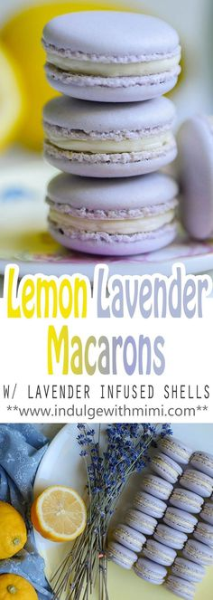 Dainty Lavender Lemon Macarons - - Lemon Lavender is a flavor pairing made in heaven! Recipe for this delicate macaron with lavender INFUSED shells and a mouth-watering lemon buttercream. Lemon Macaroons, Lavender Macarons, French Macaroons, Baking Recipes, Cookie Recipes, Dessert Recipes, Baking Ideas, Dinner Recipes, Macron Recipe