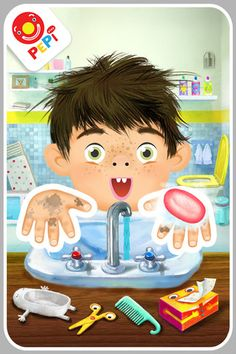 Pepi Bath ($1.99)    PEPI BATH is a role-play game where children learn about hygiene in a fun way.    The app has 4 parts as different situations in which this cute character PEPI – a boy or a girl to choose – appears:   - at the sink,   - washing clothes,   - going to a toilet,  - taking a bath. PEPI BATH can be played both as a set process of cleaning or without any pre-set sequence, where the player is free to choose what they do. PEPI characters respond interactively and express emotions.