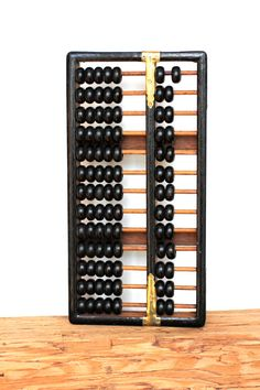 Whats The Score - Vintage Abacus - Black - Brass- Brown - Beads - Math - Mathematics £12.55